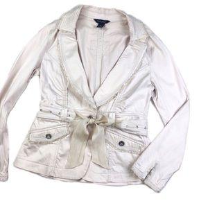White House Black Market Belted Blazer Jacket R728